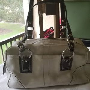 *PRE LOVED* Coach White/Brown Leather Satchel Bag